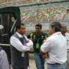 Manoj Gaur talking to Karun and Vicky Chandhok in the pitlane Wednesday