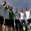 Michael Schumacher and Nico Rosberg meet the German national football team