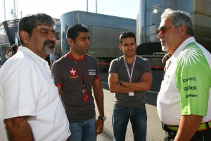 Vickey Chandhok (left), Karun Chandhok (2nd from left) and Vijay Mallya (right) at the British GP. File photo by Adrenna Communications.