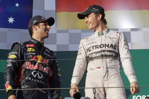 Ricciardo(left)  loses his  second place after stewards disqualification. An FIA photo