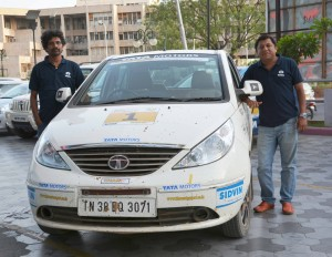 Chidu and Sujith after winning the Jeypore TSD Nationals leg on Sunday. A Tata Motors photo