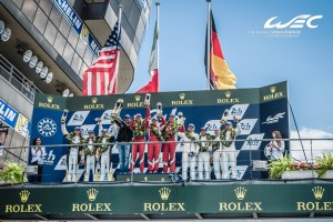 Ferrari team wins at Le Mans 24 Hours on Sunday. An FIA WEC image