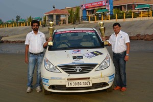 Chidu and Sujit win hat-trick kof National titles by winning the INRC (TSD) for the third year.: A Tata Motors image