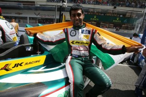 Karun Chandhok poses with an Indian flag. An Adrenna image