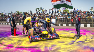 David Coulthard during the Red Bull showrun in Hyderabad on Easter Sunday. A Red Bull Content Pool image.
