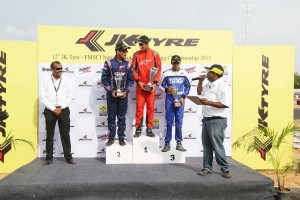 Ricky Donison chats with Ameya Bafna (left) while third placed Dhruv Mohite watches on in Bangalore on Sunday. Donison won the Senior Max category. A JK Tyre image
