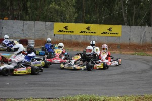 Action in the JK Tyre karting nationals final round in Bangalore on Saturday.  A JK Tyre image