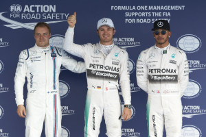 Nico Rosberg flanked by Hamilton (P2) on his right and Valtteri Bottas (P3) on Saturday after taking the pole. A Mercedes AMG Petronas image