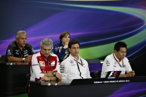 Vijay Mallya (top row - left) at the Friday press conference ahead of the Mexican GP on Sunday. An FIA image 30oct2015