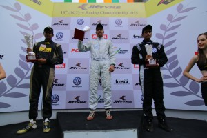 Konda Anindhith Reddy (centre) won the JK Racing India series at BIC on Saturday. A JK Tyre image