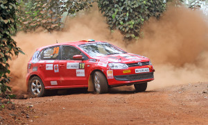 Deam Mascarenhas (co-driver Shanmuga SN) en route to topping the IRC 1600 class on conclusion of Leg-1 of the Coffee Day India Rally in Chikkamagaluru on Saturday.