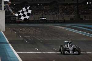 Rosberg takes the chequered flag at Abu Dhabi GP on Sunday. He won more races but a consistent Hamilton clinched the F1 title with many races to spare. FIA image