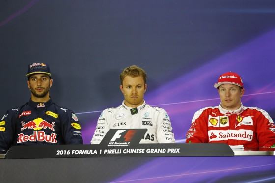 Nico Roseberg (Centre) at the Saturday FIA Press Conference after taking pole. An FIA image