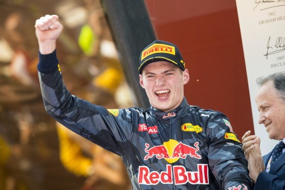 Max Verstappen celebrates after winning the Spanish GP on Sunday. An FIA image