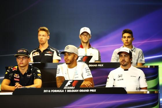 Esteba Ocon (top row, right) at the FIA press conference. An FIA image