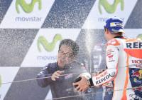 Marc Marquez celebrates after winning the Spanish GP on Sunday. A Repsol Honda image