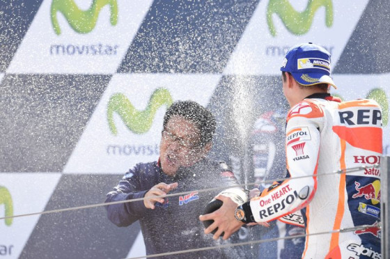 Marc Marquez celebrates after winning the Spanish GP on Sunday. A Repsol Honda image