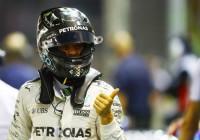 Rosberg after taking Singapore pole on Sunday. An FIA image