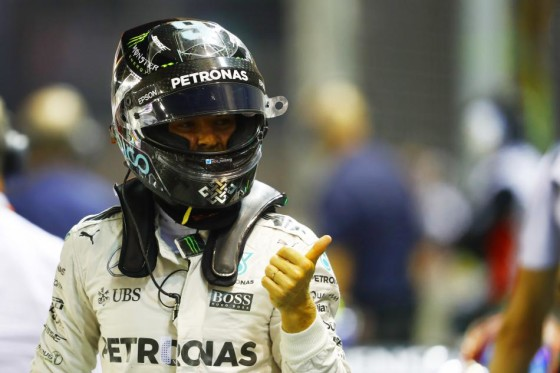 Rosberg after taking Singapore pole on Sunday. An FIA image