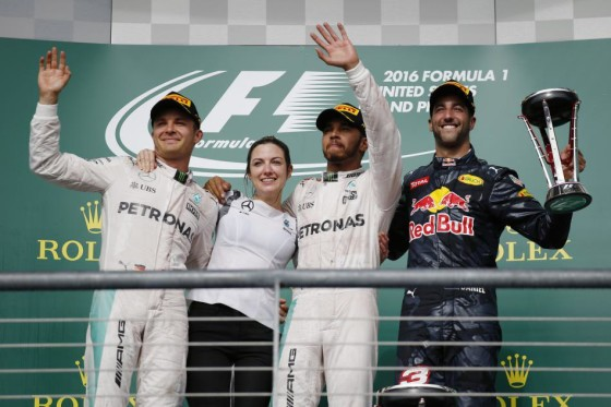 Hamilton shares the podium with Rosberg (2nd) left and Daniel Ricciardo (3rd) right after winning the US GP on Sunday. An FIA image