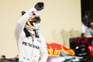 Hamilton after taking pole in Abu Dhabi on Saturday. An FIA image