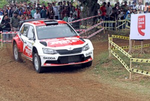 Fabien Kreim of Team MRF who clocked the fastest time in the Super Special Stage on Saturday. Image by Anand Philar